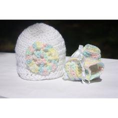 Rainbow Crochet Baby Set - Crochet Baby Gift Set - Newborn Booties and Hat Set - Baby Bootie Hat Set - Fashion Trendy Crochet Baby Booties, Baby Blanket Crochet, Crochet Hats, Baby Gift Sets, Baby Set, Baby Washcloth, Rainbow Crochet, Rainbow Flowers, Flower Applique