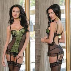 Черно-Зеленое Платье Coquette с Лифом Пуш-Ап, XL - интим магазин. Секс шоп (sex shop): секс товары. Секс магазин (сексшоп)