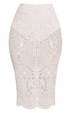 Valery Cream Crochet Lace Midi Skirt  £25.00