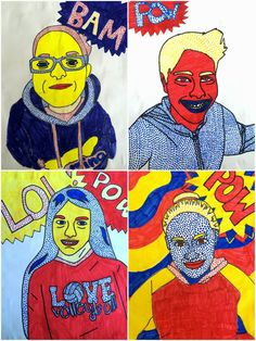 Exploring Art: Elementary Art: 6th Grade Roy Lichtenstein Self Portraits