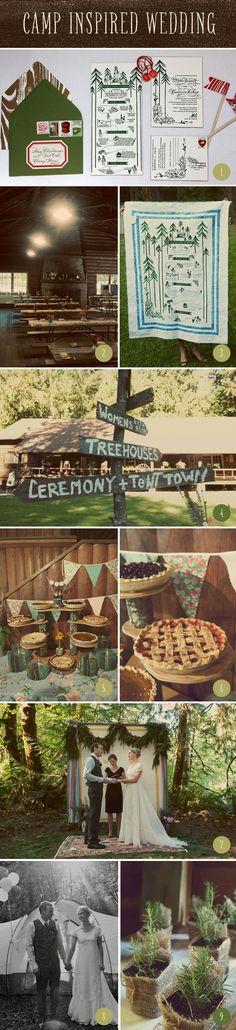 1. Camp-style stationary inspiration. We'll definitely need a map since our wedding is in the middle of the forest 2. Our wedding will be in a dining hall like this one.  3. Big signage! This is a DIY project! 4. More signage 5. Dessert table with different types of desserts on different layers. 6. Pies included 7. Outdoors ceremony 8. Guests are welcome to camp the night with us! 9. Herbs as favors. #CupcakeDreamWedding  Venue: Camp Lane, Photographer: Steep Street, Invitations: Paisley…