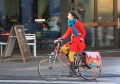 so well coordinated from Belgium Cycle Chic