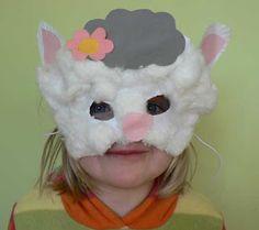Animal masks Dog Crafts, Crafts For Kids, Arts And Crafts, Animal Face Mask, Animal Masks, Sheep Mask, Lamb Craft, Sheep Costumes, Spring Animals