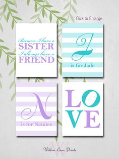 personalized siblings wall art, because I have a sister nursery decor, twin wall art, baby girls nursery decor, twin baby gifts on Etsy, $30.00