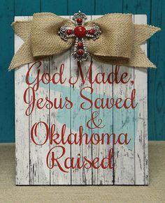 God, Jesus, Oklahoma Raised Red Plaque (FC-2409)