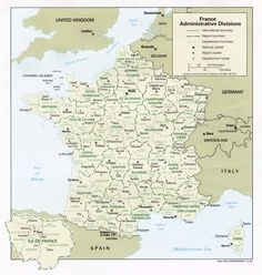 Kaart Frankrijk departementen en regio's: CIA Frankrijk is opgedeeld in 27 regio's, waarvan er 22 in het Europese deel van het land ligge...