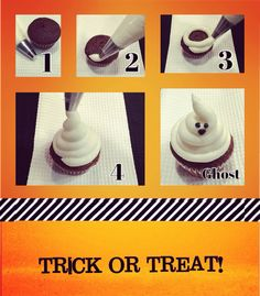 How to make an adorable ghost cupcake sure to impress   1-Start with large round tip (i.e. Wilson's #12) & bag filled with white frosting 2-Squeeze with even pressure piping a border around cupcake 3-Continue piping swirling upward and inward 4-When your frosting meets in the middle stop squeezing and pull tip upward and away to give your ghost a nice hair do Finish your ghost with two black eyes and mouth using small round tip (i.e. Wilson's #3)  Woohoo your ghost cupcake is ready f