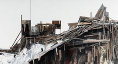 """SETH CLARK: Pile VII (detail)  48"""" x 72"""" diptych Collage, Charcoal, Pastel, Acrylic, Graphite on Wood"""