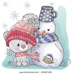 Cute Cartoon Kitten in a knitted cap and snowman