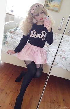 """pastelbat: """" Some of my favorite outfits from I had other favorites too, but the pictures wasn't mirror shots so they looked out of place orz… (Pssst you can see all of my outfits over. Girly Girl Outfits, Cute Girl Dresses, Girly Outfits, Cute Outfits, Chica Punk, Japonese Girl, Petticoated Boys, Young Girl Fashion, Transgender Girls"""