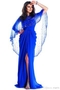 Wholesale Evening Dresses - Buy 2015 Shawl Side Split Evening Dress Scoop Neckline Rhinestone Crystals Red Carpet Dress Floor Length A Line New Fashion Formal Dress YDD, $127.17   DHgate