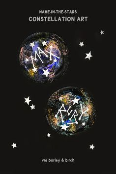 Use everyday household items to create your kids' names in the stars with this fun DIY constellation art project! Space Activities For Kids, Space Crafts For Kids, Fun Arts And Crafts, Summer Activities, Art For Kids, Steam Activities, Kids Crafts, Constellation Craft, Outer Space Crafts