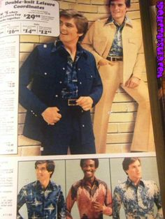 Leisure Suits:  These are suits of the 70s that were casual and usually had bright colors and bell-bottomed pants.  Underneath the jacket men wore patterned button-ups showing some chest hair.