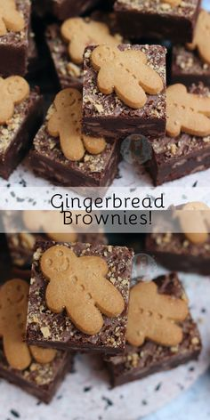 Gooey Chocolate Gingerbread Brownies with Chocolate Chips, a Spiced Brownie Batter, and Gingerbread Men on top! Christmas Party Food, Xmas Food, Christmas Sweets, Christmas Cooking, Holiday Baking, Christmas Desserts, Christmas Recipes, Christmas Cakes, Christmas 2019