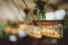 mason jar ideas to try for your wedding, home, or just because? Wondering what the fuss is all about with mason jars, jelly jars, and other canning. Mason Jar Chandelier, Mason Jar Candles, Mason Jar Lighting, Mason Jar Diy, Mason Jar Crafts, Mason Jar Lamp, Tea Candles, Candle Lighting, Flameless Candles