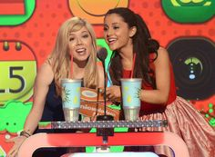Jennette McCurdy and Ariana Grande onstage at Nickelodeon's 26th Annual Kids' Choice Awards at USC Galen Center on March 23, 2013 in Los Angeles, California. (Photo by Jeff Kravitz/FilmMagic)