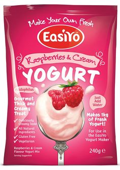 EasiYo Gourmet Range Raspberries & Cream Yogurt 240g