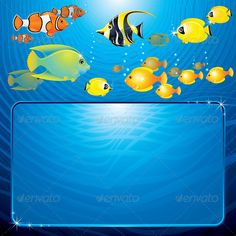 Tropical Template #GraphicRiver Sea Life Scene. Blue Background with Variety Tropical Fishes. - vector illustration, only simply linear and radial gradients used - no blends, gradient mesh used - vector available CMYK colors and ready for print - pack include version AI, CDR , EPS, JPG Keywords: aquatic, backdrop, background, beach, blue, bright, butterfly, creature, dive, diver, ecosystem, feed, idol, illustration, marine, message, sea-life, seawater, shiny, vectors Created: 28May12…