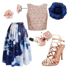 """#pinkandblue"" by sanikova on Polyvore featuring Chicwish, Madden Girl and 1928"