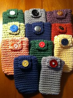 crochet phone cases with vintage buttons