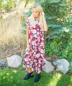 This Persephone Burgundy Floral Dress is perfect for any occasion! When you need a last minute outfit, this will be your go-to dress! With the soft floral pattern and long length the Persephone Burgundy Floral Dress is perfect for Fall!    Bella Ella Boutique