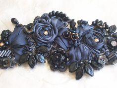 bracelet - silk ribbon & beads on lace. i like the monochromatic feel