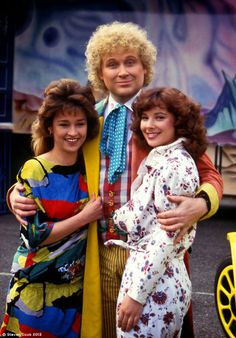 The Sixth Doctor (Colin Baker) with Tegan Jovanka (Janet Fielding) and Peri Brown (Nicola Bryant) - London, July 1986.