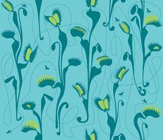 Venus fly trap - green fabric by walsh|studio on Spoonflower - custom fabric