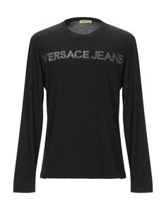 Versace T-shirt Man Versace Jeans T Shirt, Round Collar, Long Sleeve, Sleeves, Mens Tops, Shopping, Clothes, Black, Style