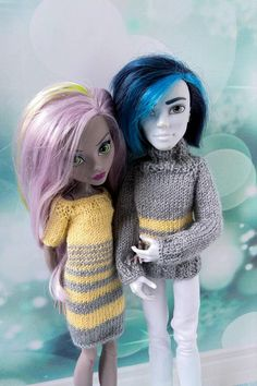 Matching clothes for Monster High dolls hand-knitted sweater for Monster High boy and hand-knitted dress for MH girl #monsterhigh #monsterhighdoll #monsterhighclothes