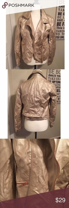 Faux Leather Jacket 🔹Item: Faux Leather Jacket 🔹Brand: Pink Envelope 🔹Condition: NWT 🔹Size/Measurements: Large 🔹Features: Faux leather, camel/tan color, rust orange zippers, elastic on the lower back. If you need any more information don't hesitate to ask! 🔺Comes from a smoke free home!  🔺No trades or PayPal! Pink Envelope Jackets & Coats
