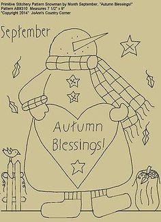 """Primitive Stitchery Pattern, Snowman April """"April showers bring May flowers! Broderie Primitive, Primitive Embroidery Patterns, Primitive Stitchery, Primitive Crafts, Country Primitive, Embroidery Designs, Stitching Patterns, Applique Patterns, April April"""