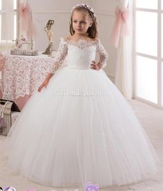 White / Ivory Ball Gown Flower Girls Dresses For Weddings Party With Long Sleeves Lace Tulle Little Kids Holy First Communion Dress Baby Pageant Dresses, Kids Pageant Dresses, Ball Dresses, Ball Gowns, Girls Dresses, Dresses Dresses, Cheap Dresses, Formal Dresses, Tulle Flower Girl