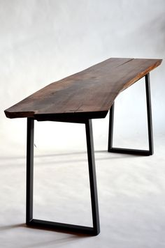 Walnut Desk; Blackened Steel Base