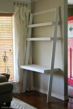 Home Office Furniture: Choosing The Right Computer Desk Ladder Shelf Desk, Desk Shelves, Small Home Offices, Desks For Small Spaces, Bedroom Desk, Diy Bedroom Decor, Home Decor, Living Room Desk, Home Office Furniture