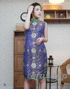 Blue sleeveless QiPao SCT212 - Custom-made Cheongsam,Chinese clothes, Qipao, Chinese Dresses, chinese clothing,EFU Tailor Shop