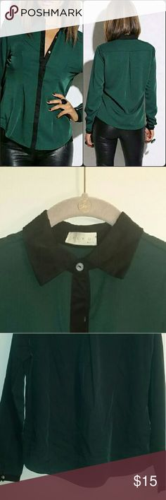 """Long Sleeve Green Shirt This chic top can be worn for work or play. Features hidden buttons. 97% Polyester 3% Spandex. True to size with no stretch.   Measurements: Length -Front 24"""" Back 25"""" Sleeve length 24"""" Bust 15"""" BLVD Tops Blouses"""