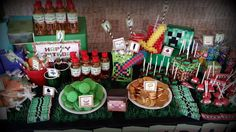 Amazing Minecraft treats and decorations!  See more party planning ideas at CatchMyParty.com!
