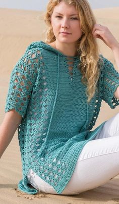 from Annie's Spring Breeze Crochet Pattern Collection 2017 Crochet pattern for hooded tunic top / sweater. Openwork pullover crochet with hood. Pattern pattern (Crochet) - Magazine Inspiration of the Needlework Openwork pullover a hook with a hood. Pull Crochet, Gilet Crochet, Crochet Shirt, Crochet Jacket, Crochet Cardigan, Crochet Stitches, Crochet Patterns, Crochet Tops, Crochet Tunic Pattern