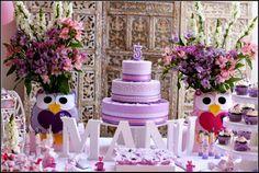 Maria Girafa Ateliê: Festa Provençal Coruja - A mesa do bolo do 5º aniversário da Manuella