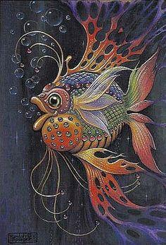Art of Randal Spangler: Fantasy Kunst, Fantasy Art, Bordados Tambour, Illustration Photo, Illustrations, Wow Art, Fish Art, Whimsical Art, Tropical Fish