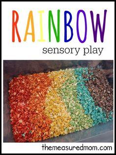 Simple rainbow sensory play