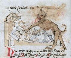 discardingimages:bedtime demon Konstanzer Weltchronik, Germany ca. 1450 Berlin, Staatsbibliothek, mgf 1714, fol. 39v
