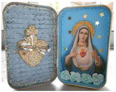 Pocket shrine diy catholic. Catholic kid activities and crafts Bible crafts religious education DIY Holy Mary, Assemblage Art, Dioramas, Altars, Religious Education, Religious Icons, Religious Art, Altered Tins, Santos