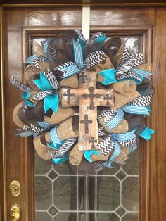 Turquoise Cross Wreath by BlingSassSparkle on Etsy, $89.00