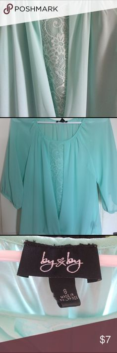 ByXBy teal blouse Size Small, but fits like a medium. Very flowing blouse and sheer. Teal mint colour. Brand byXby Never worn, thought I wanted it but it didn't fit right Bixbee Tops Blouses