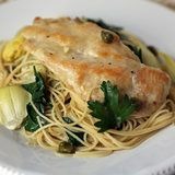 Chicken, Artichokes, and Angel Hair Pasta (Sub in some dairy free butter alternative and this looks pretty great!)