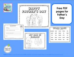 Father's Day coloring pages, writing frame, and word bank, free on Wise Owl Factory