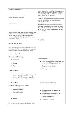 A Detailed Lesson Plan in English – Grade 8 I. Objectives At the end of the lesson, of the students with level of proficiency shall be able to: a) Dis… English Lesson Plans, English Lessons, Story Elements, Short Stories, Student, How To Plan, Lp, Ideas, Thoughts