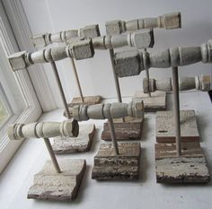 Here you have your choice of bracelet holder or necklace holder. We have made these using chippy white architectural spindles. The bases are architectural salvage trim and have a nice little groove that is perfect for rings. These are just beautiful to organize/display jewelry for your home or retail setting. The listing is for one display; simply select your style and quantity at checkout. You will not get the exact display shown in the photos. The amount of chippy paint will vary due to…